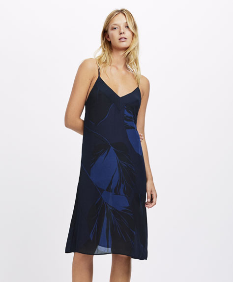 Leaf print nightdress with navy blue background
