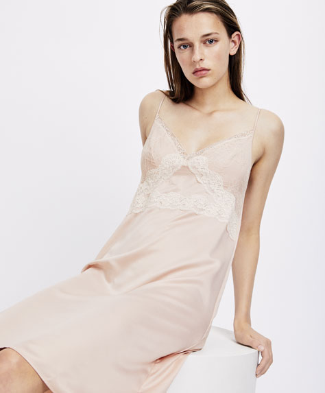 Short satin nightdress