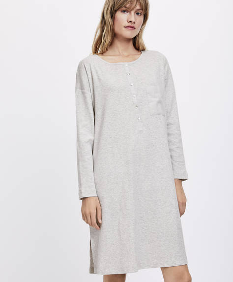 Ecologically grown cotton long nightdress