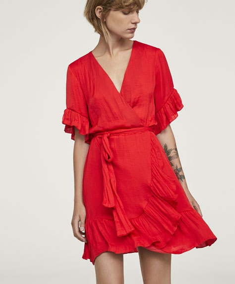 Short satin ruffled dress