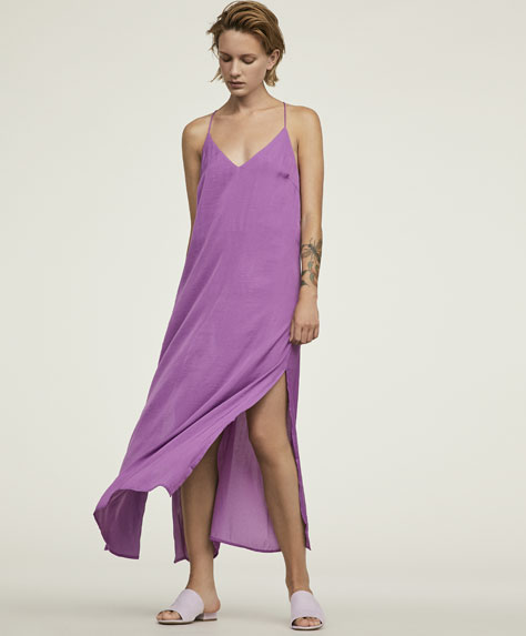 Long satin finish strappy dress