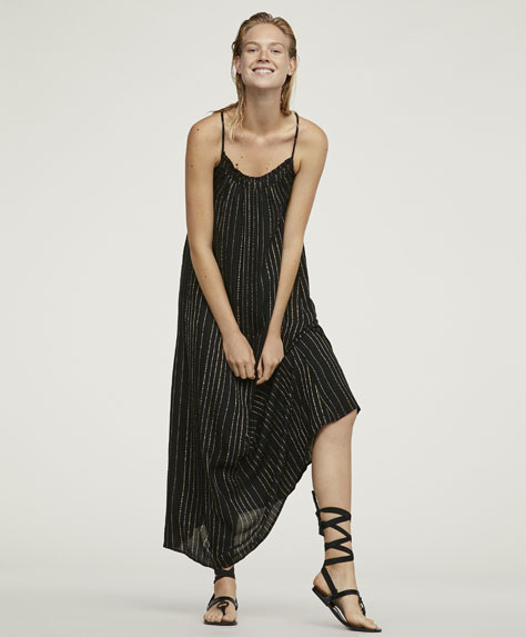 Dress with metallic thread stripes