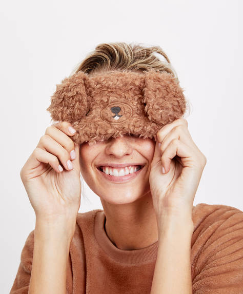 Furry dog sleep mask