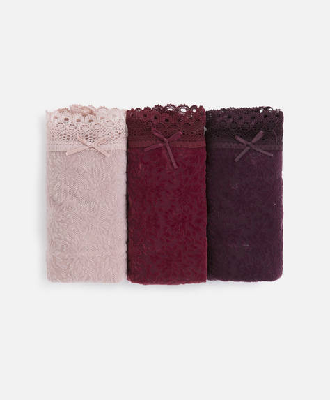 3 burgundy classic briefs with flocking