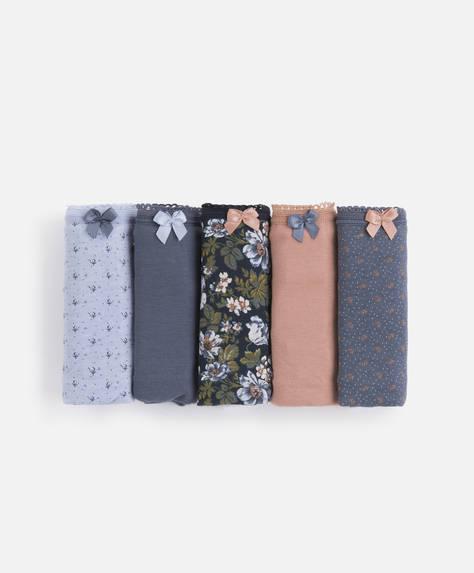 5 braguitas clásicas flores