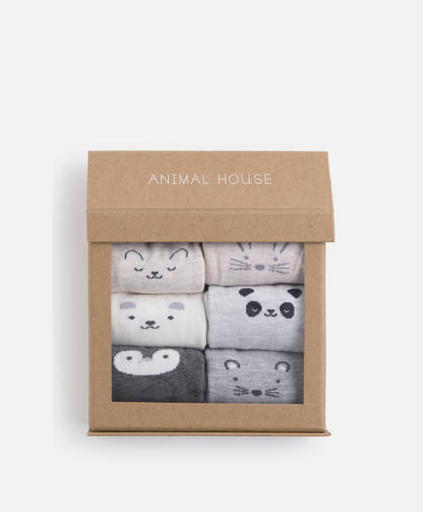 Pack of 6 pairs of cute animal socks