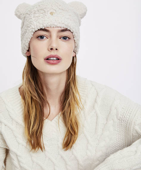 Faux-shearling hat