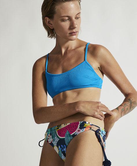 Blue ribbed bikini top