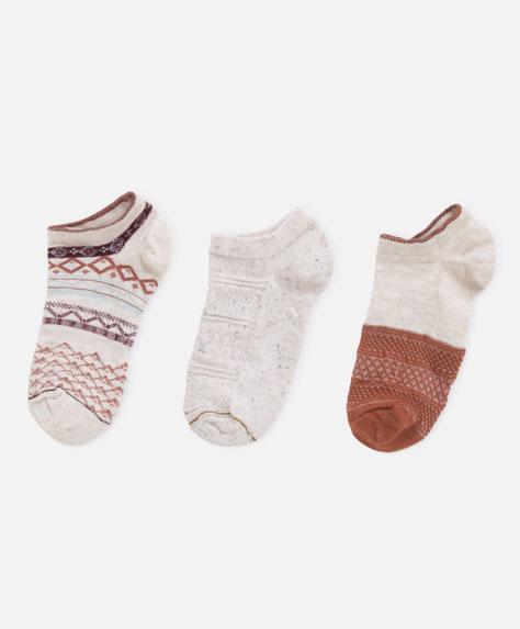 3 jacquard textured weave socks