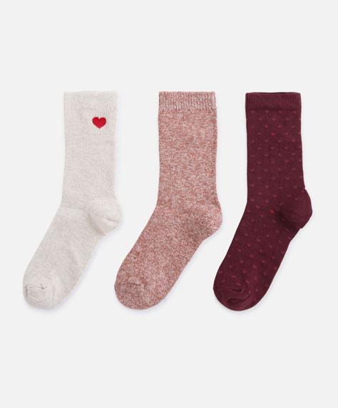 3 Socken mit Herzen