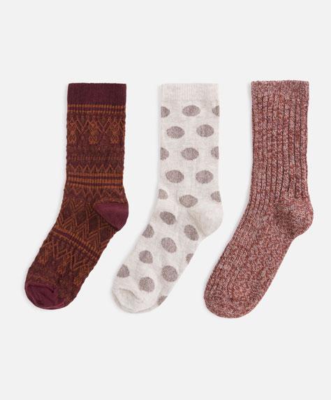 Σετ 3 κάλτσες ρουστίκ