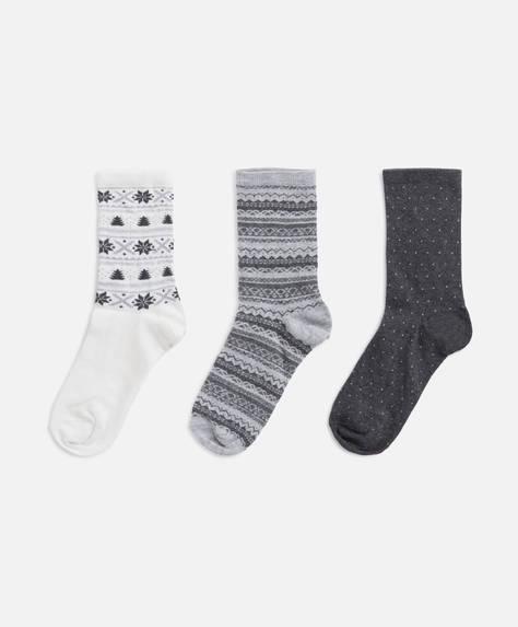 3 Jacquard-Socken mit weihnachtlichem Print