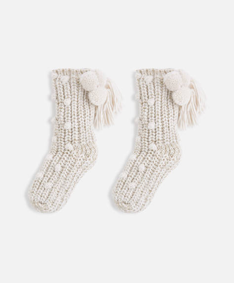 Pompom slipper socks