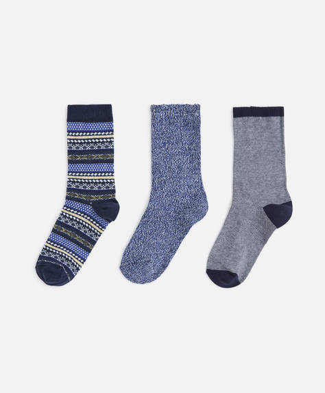 3 calcetines jacquard navy