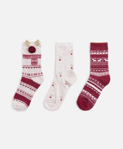 3 pairs of jacquard reindeer socks