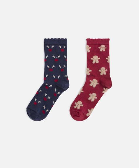 2 Paar weihnachtliche Socken