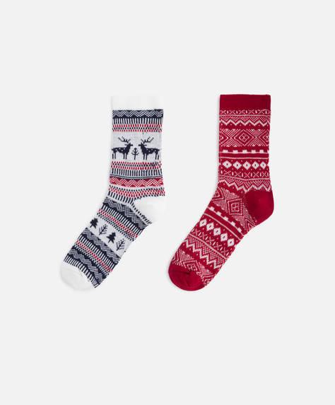 2 pairs of reindeer socks
