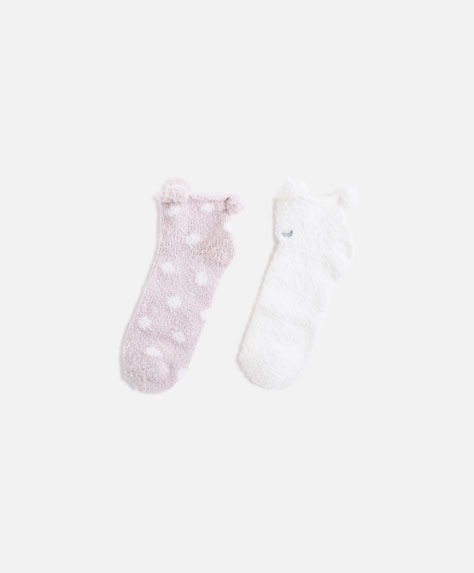 Two pairs of fleece bunny socks