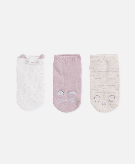 3-pack of funny kitten socks