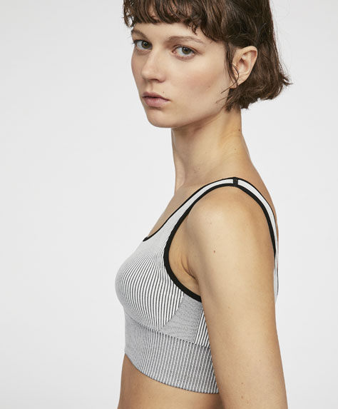 Ribbed cropped sports bra