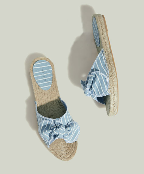 Striped jute espadrilles with bow