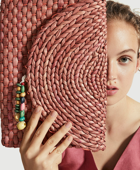 Beaded raffia clutch