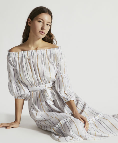 Striped midi tunic with metallic thread