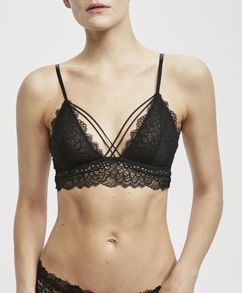Opaque lace triangle bra