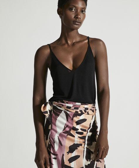 Plain black sleeveless top