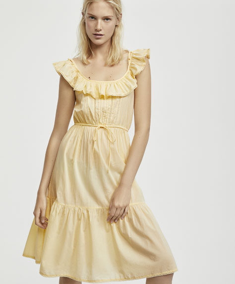 Yellow nightdress with ruffled straps