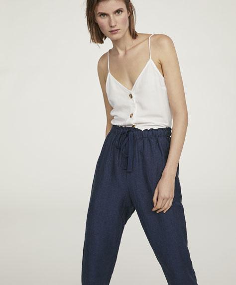 Pantalón básico lino