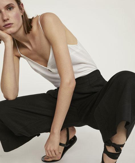 Linen wide-leg trousers