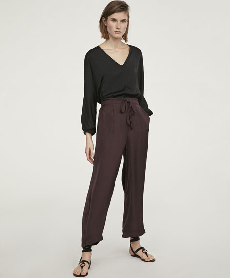 Long satin trousers