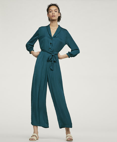 Long satin jumpsuit