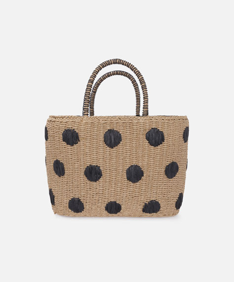 Basket bag with embroidered polka dots