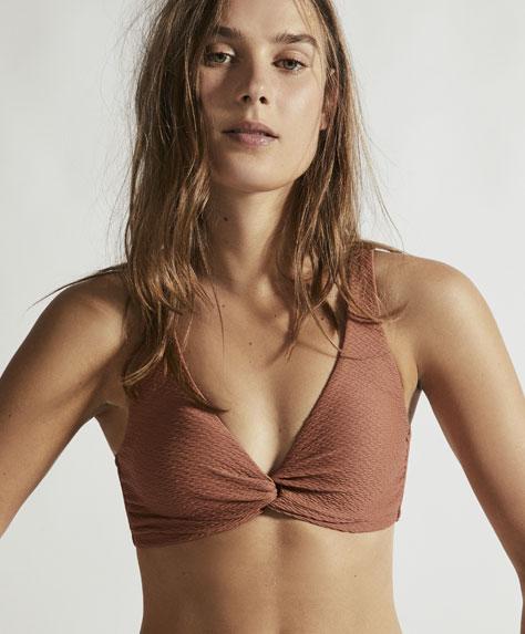 Wavy texture twist-knot halter-neck bikini top
