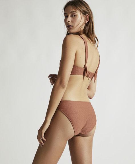 Classic wavy-texture knot bikini bottoms