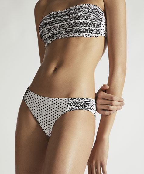 White base polka dot hipster bikini bottoms