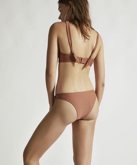 Wavy texture twist-knot Brazilian bikini bottoms