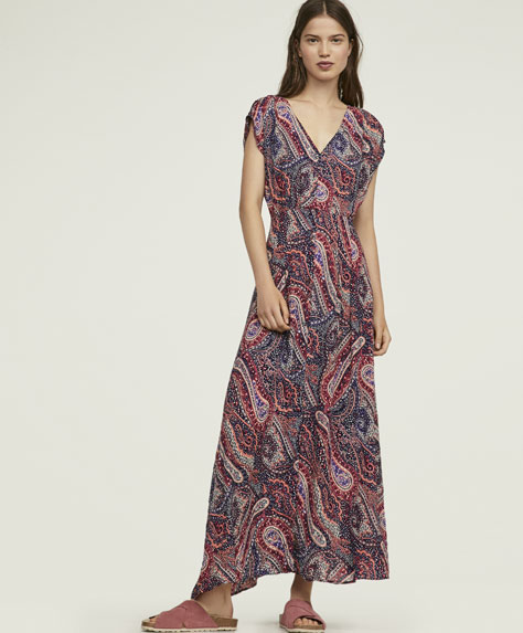 Long floral paisley dress