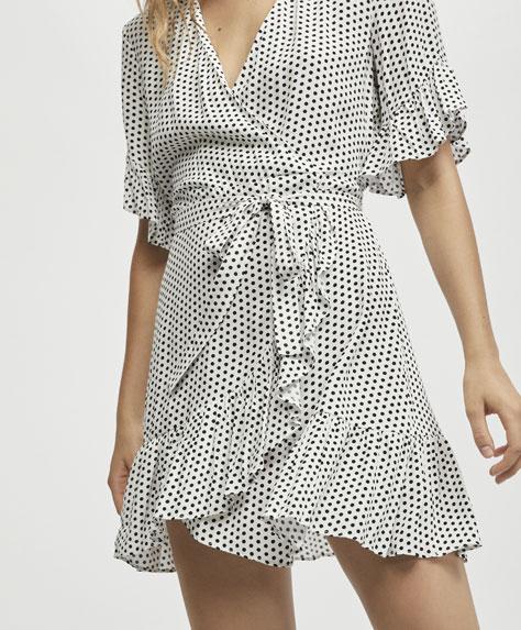 Short dress with a mini polka dot print - 1