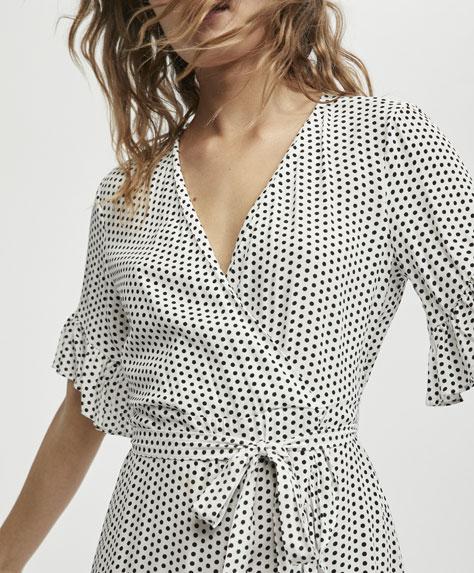 Short dress with a mini polka dot print - 3