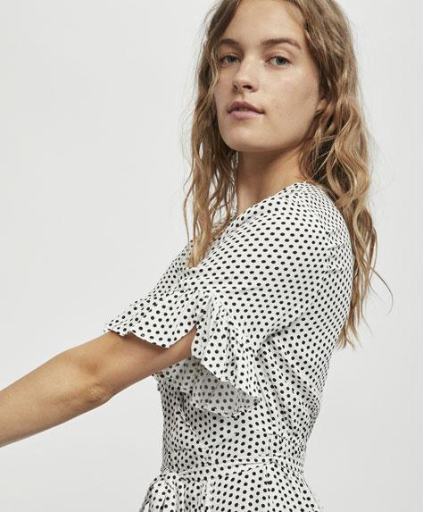 Short dress with a mini polka dot print - 4