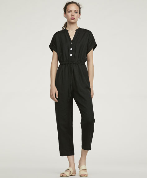 Straight fit linen jumpsuit