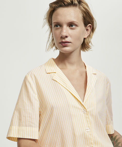 Yellow striped short sleeve shirt
