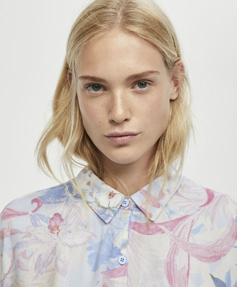 Mauve tropical flower shirt