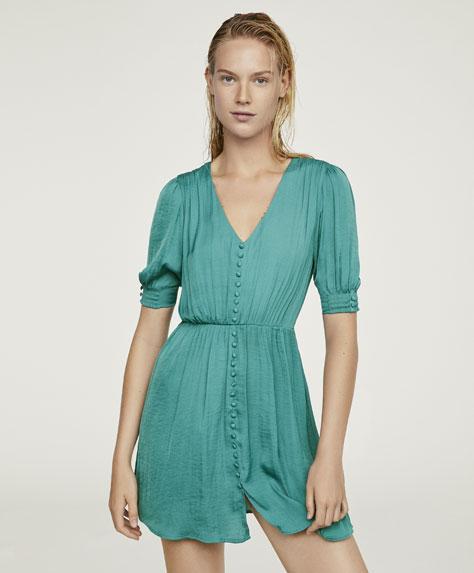 Однотонное платье из сатинированной ткани