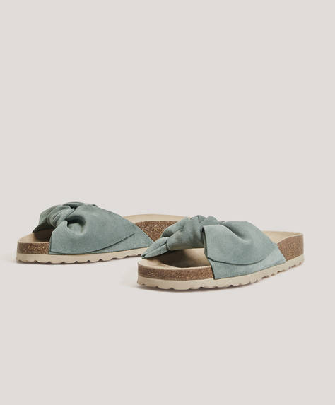 Split suede slides