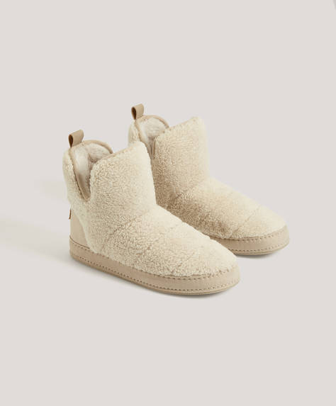 Faux-shearling boots