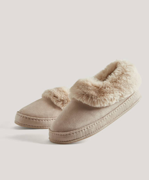 Closed furry collar slippers